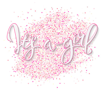 Illustration pour Calligraphy lettering It's a girl. Vector hand drawn invitation to the baby shower for a girl with  pink glittering confetti - image libre de droit