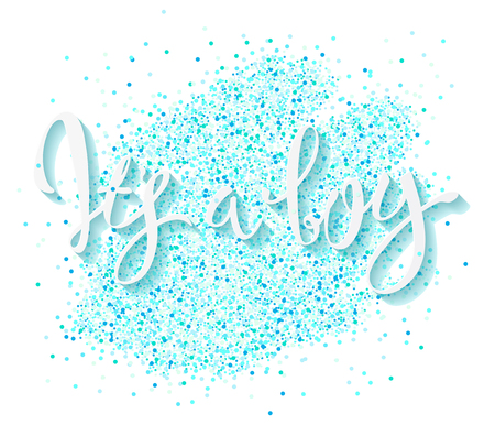 Illustration pour Calligraphy lettering It's a boy. Vector hand drawn invitation to the baby shower for a boy with  blue glittering confetti - image libre de droit