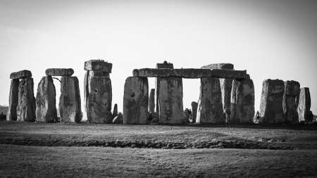 Photo for Famous Stonehenge in England in black and white - Royalty Free Image