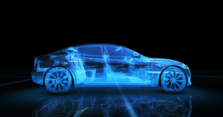 Foto de Sport car wire model with blue neon ob black background - Imagen libre de derechos