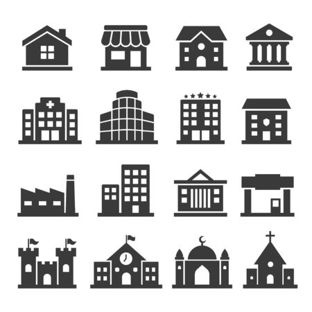 Illustration for Public building vector icon set on white background - Royalty Free Image