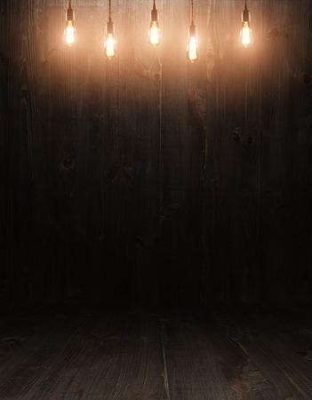 Foto de dark vintage brown wooden planks interior with  shadows - Imagen libre de derechos