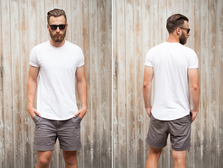 Front and back view of a hipster handsome male model with beard wearing white blank t-shirt with space for your logo or design in casual urban style with sunglasses