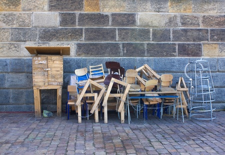 Old wooden furniture on pile