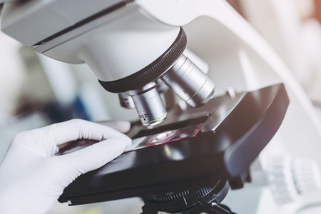 Close-up image of laboratory scientist is working with microscope. Doing lab investigation.