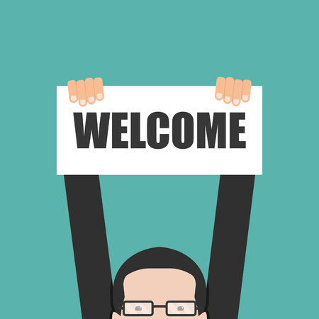 Illustration for Businessman holding welcome banner - Royalty Free Image