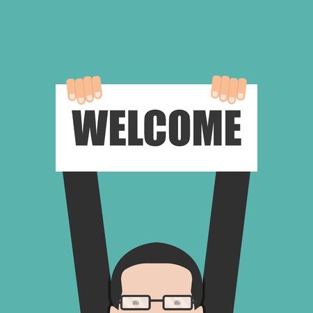 Ilustración de Businessman holding welcome banner - Imagen libre de derechos