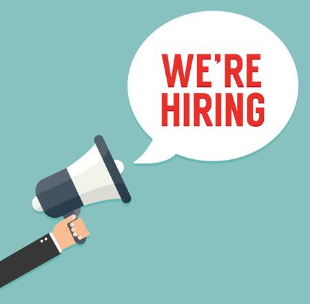 Illustration pour Hand holding megaphone - We are hiring - image libre de droit