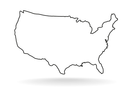 Ilustración de USA map icon, outline style. United states outline isolated on white background. USA drawing vector illustration - Imagen libre de derechos