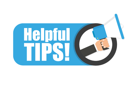 Illustration pour Hand holding megaphone - Helpful tips - image libre de droit