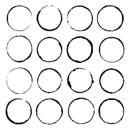 Illustration for Vector set of grunge circle brush vector illustration - Royalty Free Image