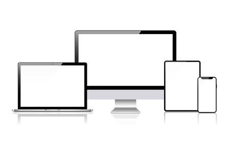 Illustration pour Realistic vector. Device set: monitor laptop, tablet and phone template - image libre de droit