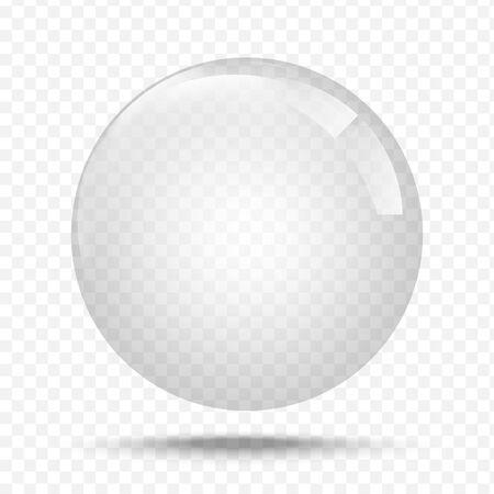 Illustration pour Transparent glas. White pearl, water soap bubble, shiny glossy orb realistic design elements - image libre de droit