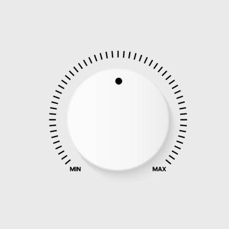 Illustration for White technology button, music volume knob, range scale. Vector illustration - Royalty Free Image