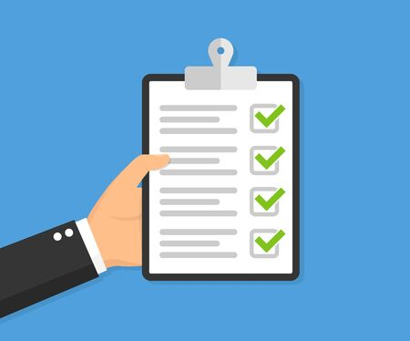 Illustration pour Hand holding clipboard with checklist. Vector illustration - image libre de droit