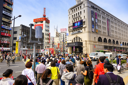 TOKYO JAPAN - MARCH 27, 2018 : Shibuya neighborhood, Unidentified tourists walk past this area has many shops full to shopping and restaurants. One of Tokyo's must-see places to visit.