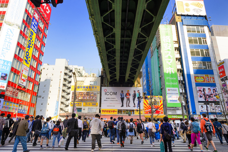 TOKYO JAPAN - APRIL 4, 2018 : Akihabara neighborhood, Unidentified tourists walk past this area has many technology shops full to shopping and restaurants. One of Tokyo's must-see places to visit.