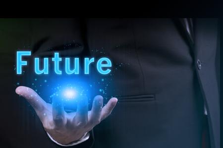 Photo pour businessman holding future in his hand.success in business - image libre de droit
