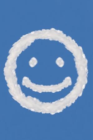 cloud on blue background,idea box,cloud box,circle shape,smile face
