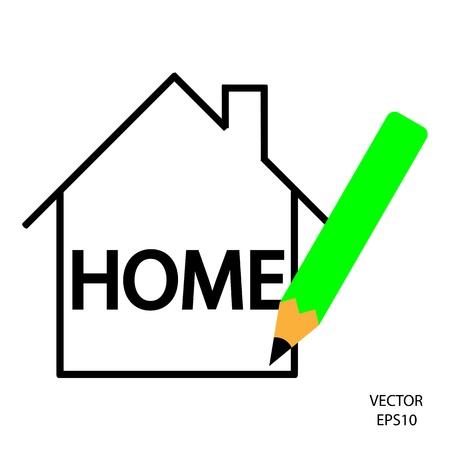home icon,color pencil icon, business symbol,concept of creation,drawing by color pencil,vector