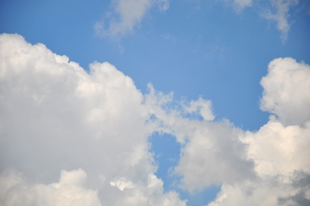 white cloud with blue sky background, blank on blue sky for sample texts , texts box, idea box