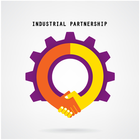 Creative handshake sign and industrial idea concept background, design for poster flyer cover brochure ,business idea ,industrial sign,abstract background vector illustration