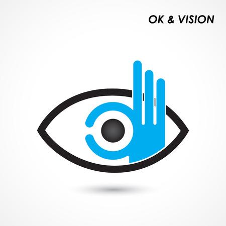Vektor für Ok hand with eye sign. Business and vision concept. Company logo,hand Ok symbol icon. Creative logo design template,design element. Vector illustration - Lizenzfreies Bild