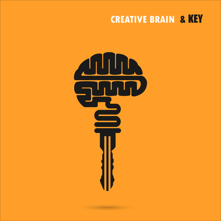 Ilustración de Creative brain sign with key symbol. Key of success.Concept of ideas inspiration, innovation, invention, effective thinking and knowledge. Business and education idea concept. Vector illustration. - Imagen libre de derechos
