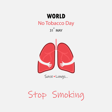 Lung cute cartoon character and Stop Smoking and Save Lungs vector design. May 31st World No Tobacco Day concept.