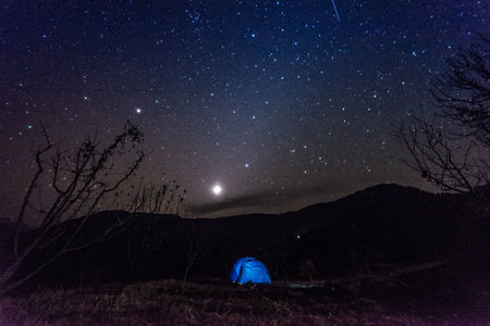 Photo for Camping tent under millions stars in himalayas - India - Royalty Free Image