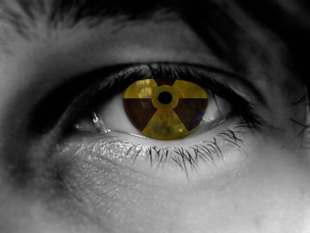 black and white part of face, radiation warning reflection in eye