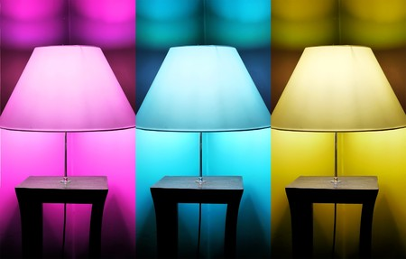Photo of 3 lamps: pink, blue and yellow