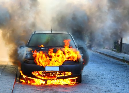 a car on fire