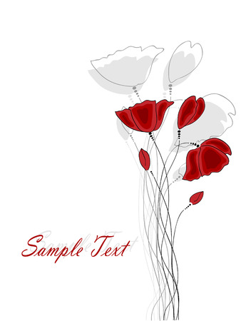Vector pictures with red poppy flowers