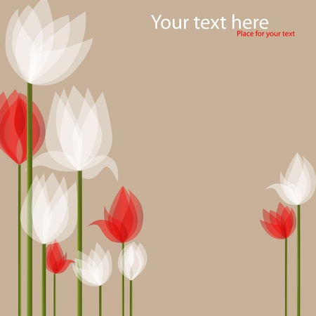 Illustration pour picture with white and red tulips on black background - image libre de droit