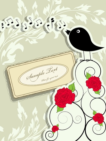 picture with cute singing bird and vintage frame