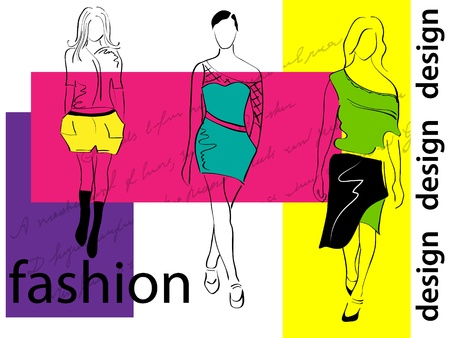 Vector picture with 3 fashion girls