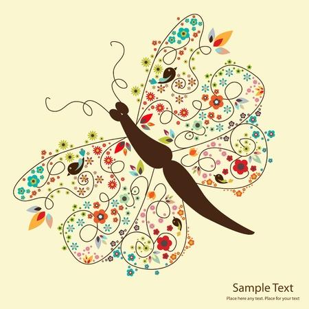 Ilustración de picture of cute butterfly with small flowers - Imagen libre de derechos