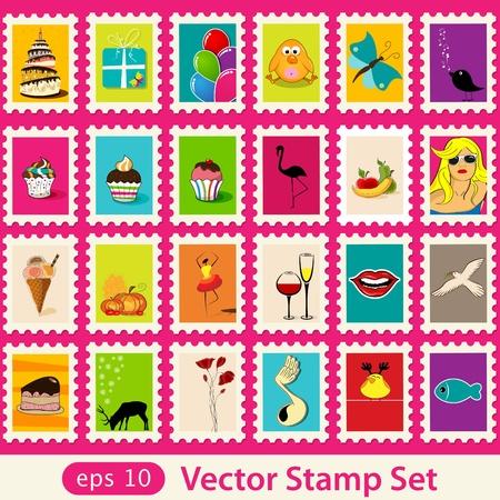 Vector post stamps set