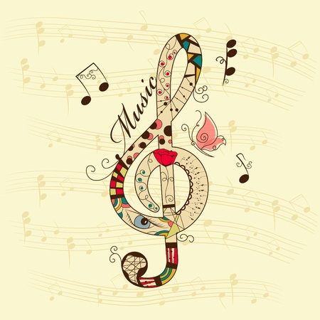 musical background with treble clef