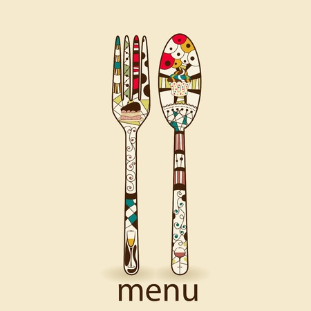 Menu pattern with spoon and fork