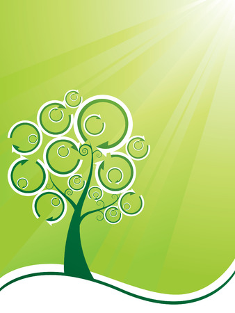 Recycling tree ecology background