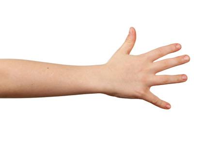 Photo pour Child hand on white background - image libre de droit