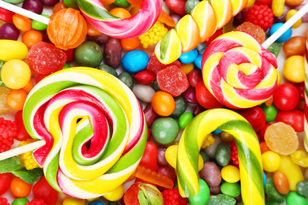 Different fruit candies backgroundの写真素材