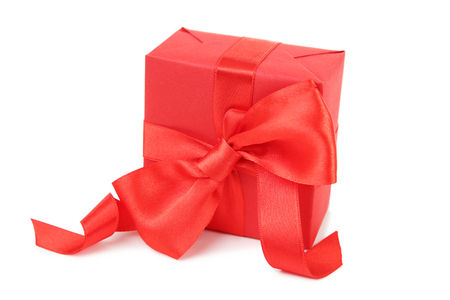Foto de Gift box with ribbon isolated on white background - Imagen libre de derechos