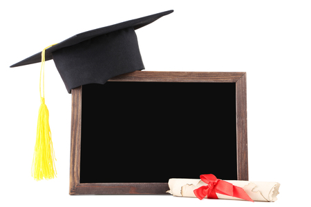 Foto de Graduation cap with diploma and blank frame isolated on white background - Imagen libre de derechos