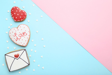 Photo for Valentine day cookies with sprinkles on colorful background - Royalty Free Image