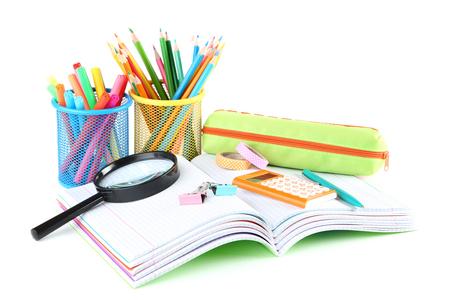 Photo pour School supplies with notebooks on white background - image libre de droit