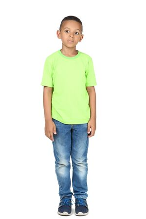 Foto de Cute american boy in fashion clothing on white background - Imagen libre de derechos