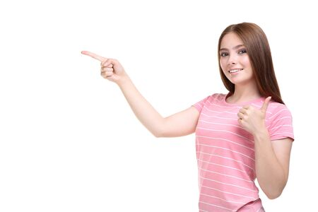 Photo for Young woman in pink t-shirt on white background - Royalty Free Image